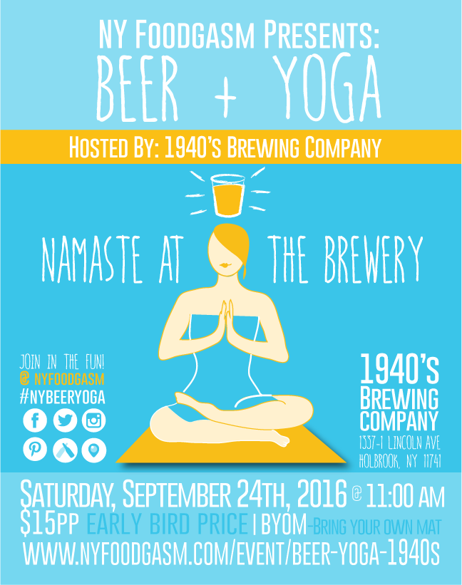 Beer and Yoga Hosted by 1940s Brewing Company – Yoga Flyer